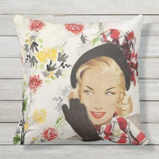 Retro Blonde Beautiful Woman Black Beret Blue Eyes Throw Pillow