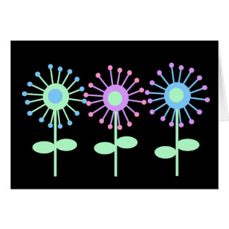 Retro Blooms Blank Notecard Greeting Card