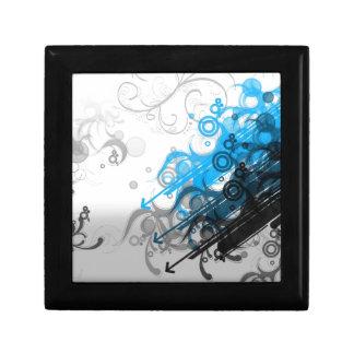 retro blue abstract design small square gift box