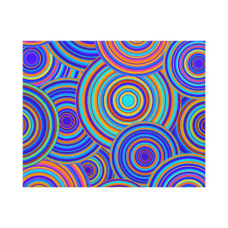 Retro Blue and Orange Circles Pattern Gallery Wrapped Canvas