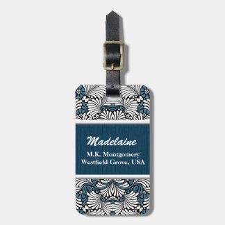 Retro Blue and White Fern Custom Tags For Luggage