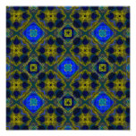 Retro Blue and Yellow Fractal Pattern