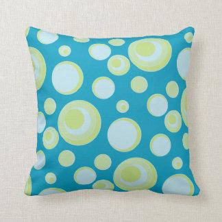 Retro Blue and Yellow Polka Dots and Circles Cushion