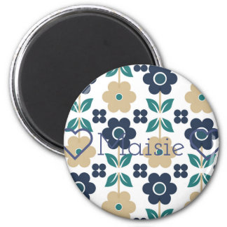 Retro Blue/beige Flowers Customisable Round Magnet
