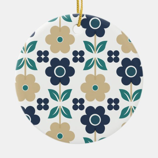 Retro Blue/Beige Flowers Dble-sided Ornament
