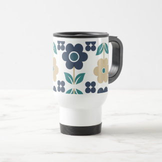 Retro Blue/Beige Flowers Travel/Commuter Mug