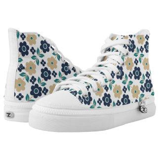 Retro Blue/Beige Flowers Zipz High Top Shoes