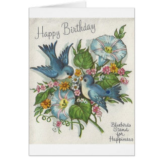 Retro Blue Bird Birthday Greeting Card