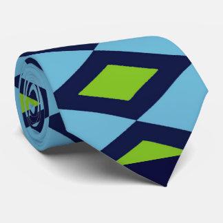 Retro Blue, Black Diamonds Tie, 2-sided Tie
