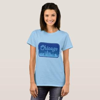 Retro Blue Chicago Skyline T-Shirt