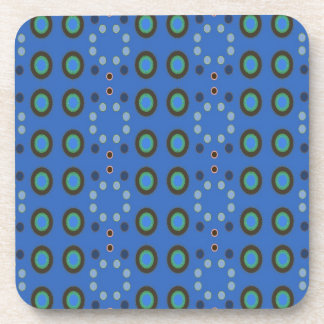 retro blue circle pattern drink coasters