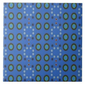 retro blue circle pattern large square tile
