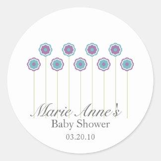 retro blue daisy BABY SHOWER custom party favor Round Sticker