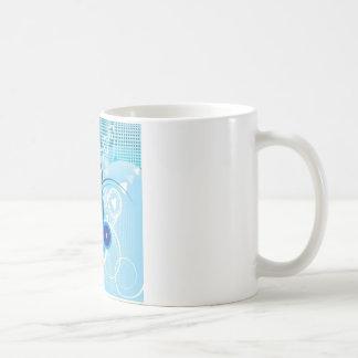 retro blue effect basic white mug