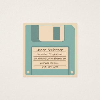 Retro Blue Floppy Disk Square Business Card
