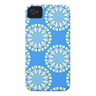 Retro Blue Flower Power Colorful iPhone Case iPhone 4 Case-Mate Cases
