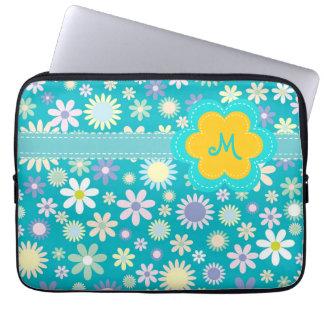 Retro Blue Flower Power Monogram Laptop Sleeve