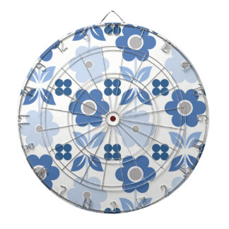 Retro Blue Flowers Dartboard