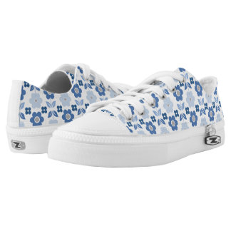 Retro Blue Flowers Low Tops
