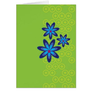 Retro Blue Flowers Note Card