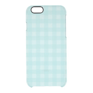 Retro Blue Gingham Checkered Pattern Background Clear iPhone 6/6S Case