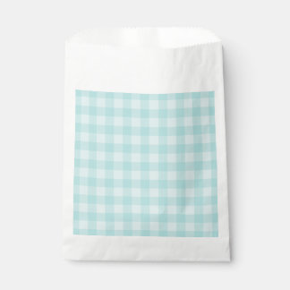 Retro Blue Gingham Checkered Pattern Background Favour Bags