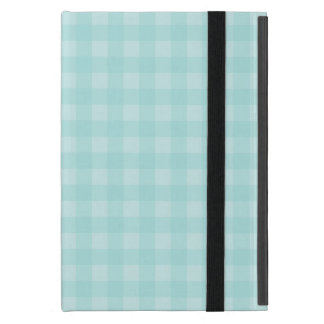 Retro Blue Gingham Checkered Pattern Background iPad Mini Cover