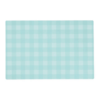 Retro Blue Gingham Checkered Pattern Background Laminated Place Mat