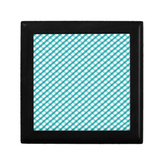 Retro Blue Gingham Small Square Gift Box