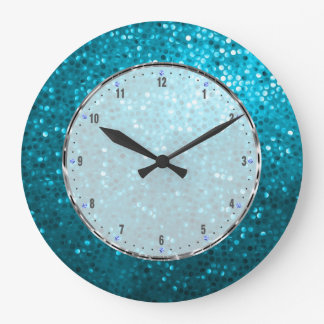 Retro Blue Glitter Large Clock
