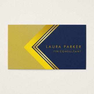Retro Blue Gold Geometrical Finance Construction Business Card