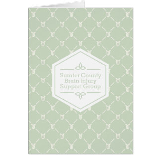 Retro Blue Green Floral Pattern Card