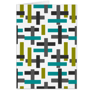 Retro Blue, Green, Grey Abstract Card
