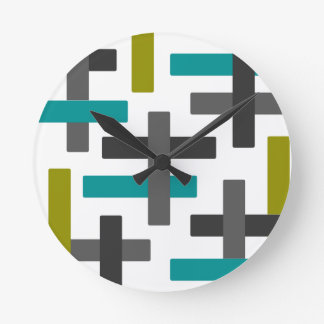 Retro Blue, Green, Grey Wallclock