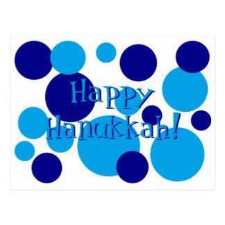 Retro Blue Hanukkah Dots Postcard