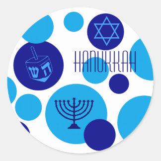 Retro Blue Hanukkah Dots Round Sticker