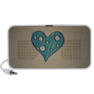 Retro Blue Heart Sepia Vintage Design Mp3 Speakers