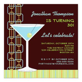Retro Blue Martini Birthday Party Invitation
