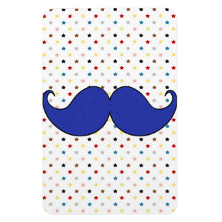 Retro Blue Mustache Moustache Rectangular Magnets
