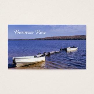 Retro Blue Nautical Seascape Rowboats on Lake