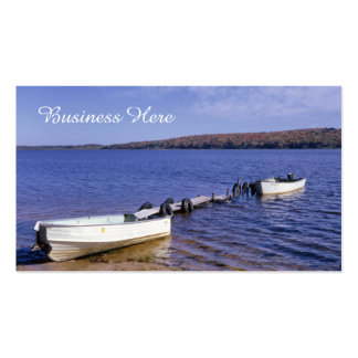 Retro Blue Nautical Seascape Rowboats on Lake Pack Of Standard Business Cards