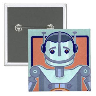 Retro Blue Robot Kids 15 Cm Square Badge
