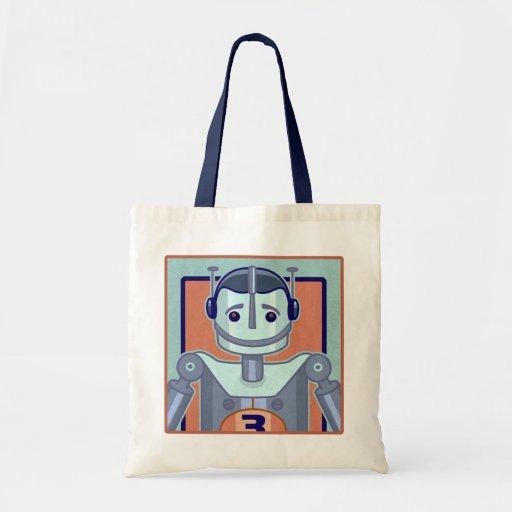 Retro Blue Robot Kids Bags