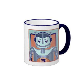 Retro Blue Robot Kids Ringer Coffee Mug
