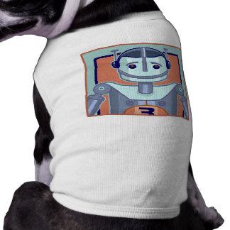 Retro Blue Robot Kids Sleeveless Dog Shirt