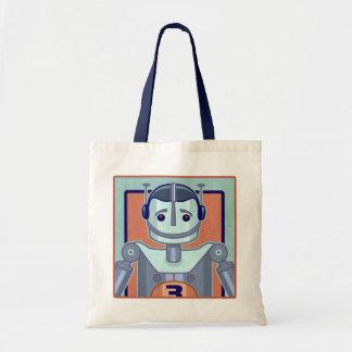 Retro Blue Robot Kids Budget Tote Bag