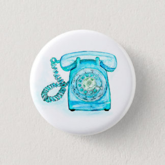 Retro Blue Rotary Phone Button Pin Turquoise