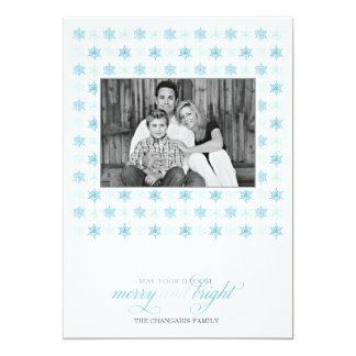 "Retro Blue Snowflake Holiday Photo Card 5"" X 7"" Invitation Card"