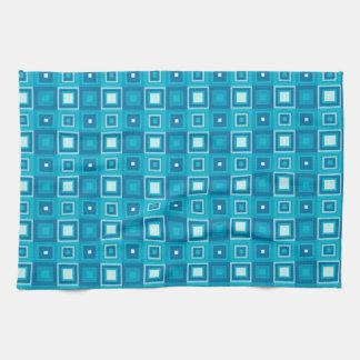 Retro blue squares pattern tea towel