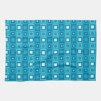 Retro blue squares pattern towels
